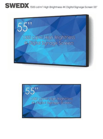 "55"" High Brightness 4K Digital Signage Screen"