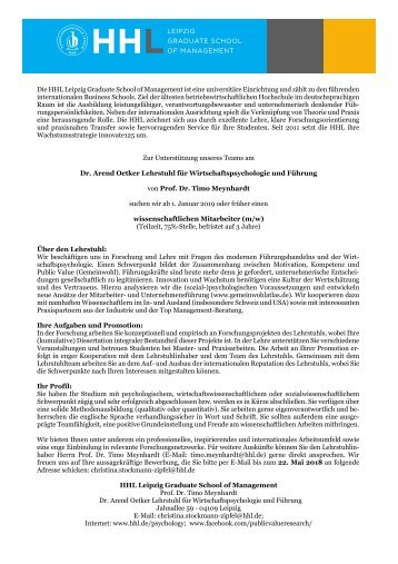 Stellenausschreibung am Dr. Arend Oetker Lehrstuhl für Wirtschaftspsychologie und Führung