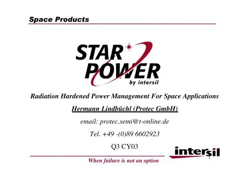 Space Products Radiation Hardened Power ... - Protec GmbH