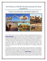 How Morocco Will Be The Best Journey For Real Expedition
