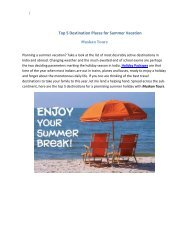 Top 5 Destination Places for Summer Vacation