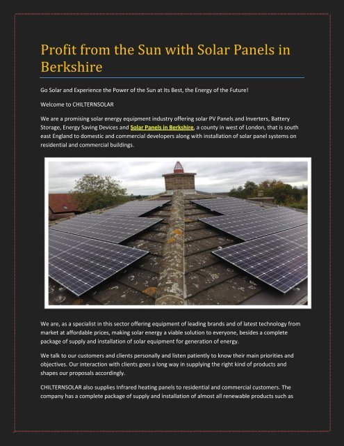 Profit from the Sun with Solar Panels in Berkshire