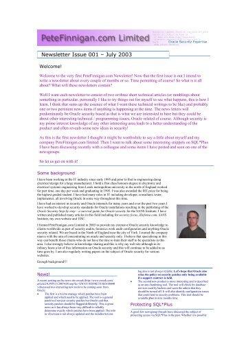 Newsletter Issue 001 – July 2003 - Pete Finnigan