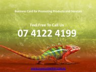 Business Card for Promoting Products and Services