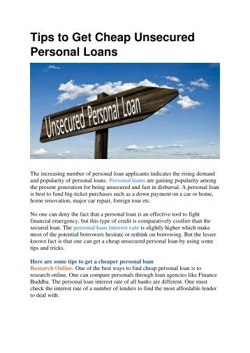 Tips to Get Cheap Unsecured Personal Loans