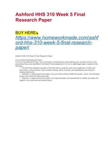 Ashford HHS 310 Week 5 Final Research Paper