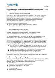 Rapportering av Hafslund Netts nøytralitetsprogram i 2007