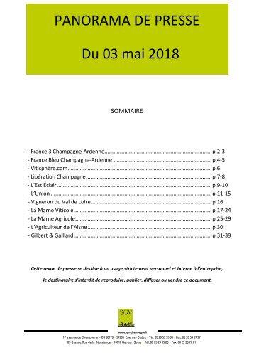 Panorama de presse quotidien du 03-05-2018