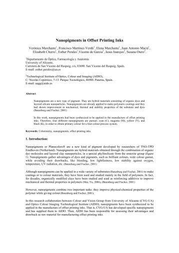 Nanopigments in Offset Printing Inks - RUA