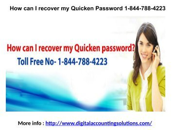 How can I recover my Quicken Password 1-844-788-4223