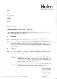 Trust Letter of Engagement - Helm Trust Company Limited