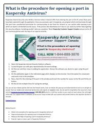 what is the Procedure of opening a port in kaspersky Antivirus?