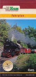 Aktuelle Fahrpläne der Harzer Schmalspurbahn
