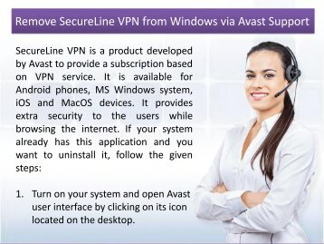 Remove SecureLine VPN from Windows via Avast Support