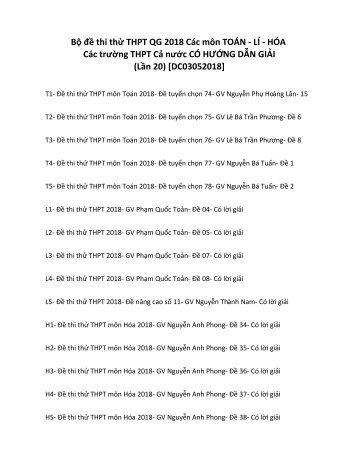 Bộ đề thi thử THPT QG 2018 Các môn TOÁN - LÍ - HÓA Các trường THPT Cả nước CÓ HƯỚNG DẪN GIẢI (Lần 20) [DC03052018]