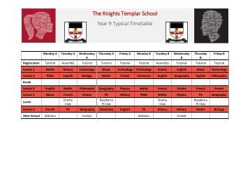 Typical Year 9 Timetable