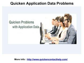 Quicken Application Data Problems