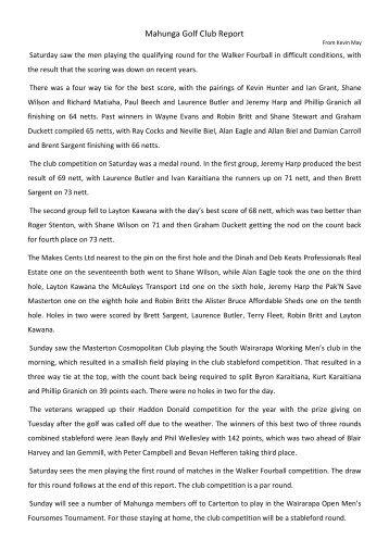 Mahunga Golf Club Report