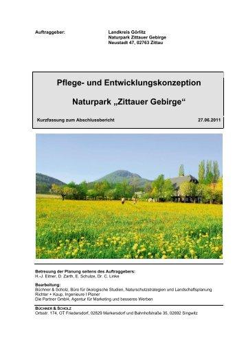 """Pflege- und Entwicklungskonzeption Naturpark """"Zittauer Gebirge"""""""