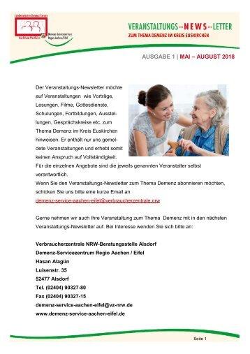 1. Veranstaltungs-Newsletter Demenz im Kreis Euskirchen