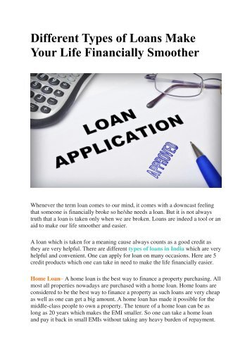 Different Types of Loans Make Your Life Financially Smoother