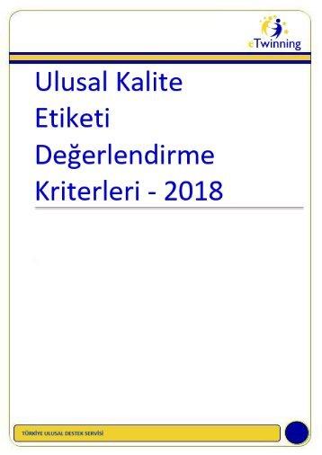 eTwinning Kalite Etiketi Kriterleri 2018
