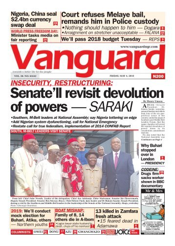 04052018 - INSECURITY, RESTRUCTURING: Senate'll revisit devolution of powers — SARAKI