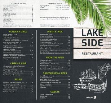 AREA 47 Lakeside Restaurant Speisekarte 2018