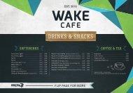 AREA 47 Wake Cafe Getränkekarte 2018