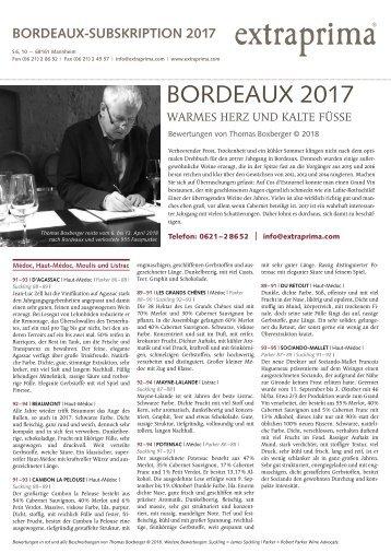 Extraprima Bordeaux 2017 Subskription Verkostungsnotizen