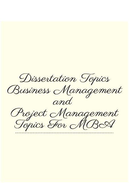 best business management dissertation topics for university students