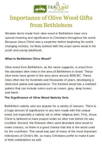 Importance of Olive Wood Gifts from Bethlehem