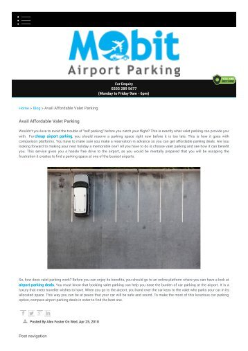 Avail Affordable Valet Parking - Mobit Airport Parking