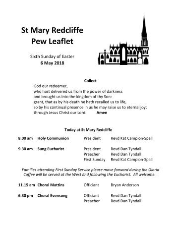 St Mary Redcliffe Church Pew Leaflet - May 6 2018