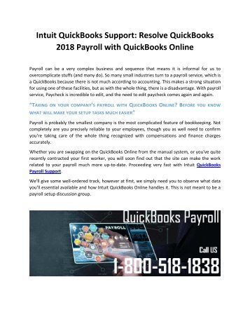 Intuit QuickBooks Support Resolve QuickBooks 2018 Payroll with QuickBooks Online