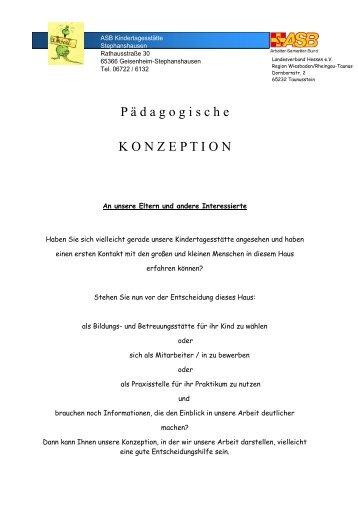 P ä d a g o g i s c h e K O N Z E P T I O N - ASB-Kita Stephanshausen