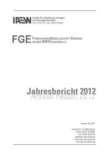Jahresbericht 2012 - FGE - RWTH Aachen University