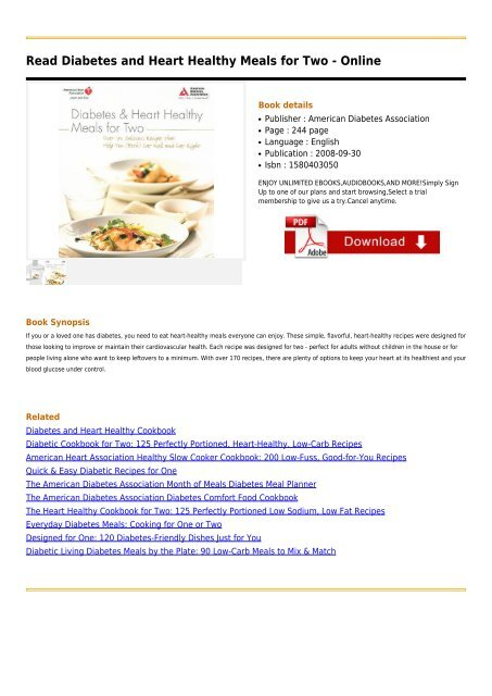 Diabetes And Heart Healthy Meals