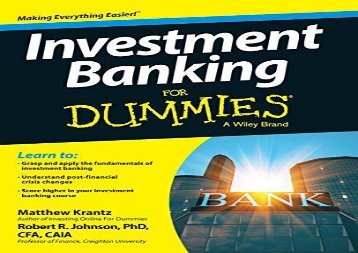 BEST PDF  Investment Banking For Dummies TRIAL EBOOK