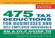 BEST PDF  475 Tax Deductions for Businesses and Self-Employed Individuals: An A-to-Z Guide to Hundreds of Tax Write-Offs, Eleventh Edition (475 Tax Deductions for Businesses   Self-Employed Individuals) BOOK ONLINE