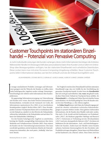 Customer Touchpoints im stationären Einzelhandel - Alireza Sahami