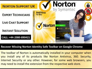 Recover Missing Norton Identity Safe Toolbar on Google Chrome
