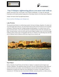 Top 5 Udaipur sightseeing places you must visit with us