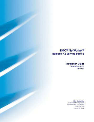 Emc networker. Cluster installation guide. Release 8. 0 p/n rev a02.
