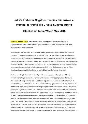 India's first-ever Cryptocurrencies fair arrives at Mumbai for Himalaya Crypto Summit during 'Blockchain India Week' May 2018