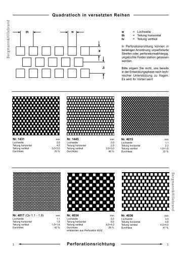Perforationskatalog Quadratlochung in versetzten Reihen
