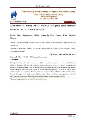 Evaluation of Balkan wheat cultivars for grain yield stability based on the GGE biplot analysis