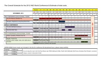 The Overall Schedule for the 2012 IAIE World Conference ...