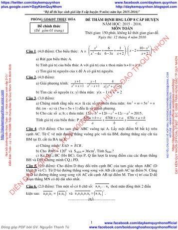 BỘ ĐỀ THI HSG CẤP HUYỆN CÁC MÔN - TOÁN - VẬT LÝ - HÓA HỌC - SINH HỌC - TIẾNG ANH - LỚP 8 (CÓ ĐÁP ÁN CHI TIẾT)