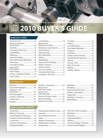 2010 Buyer'S GuIde - Minnesota Precision Manufacturing Association